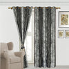 Urban Hues Eyelet 1 Piece Polyester Jacquard Fabric Window, Door Curtain (ck & Silver)