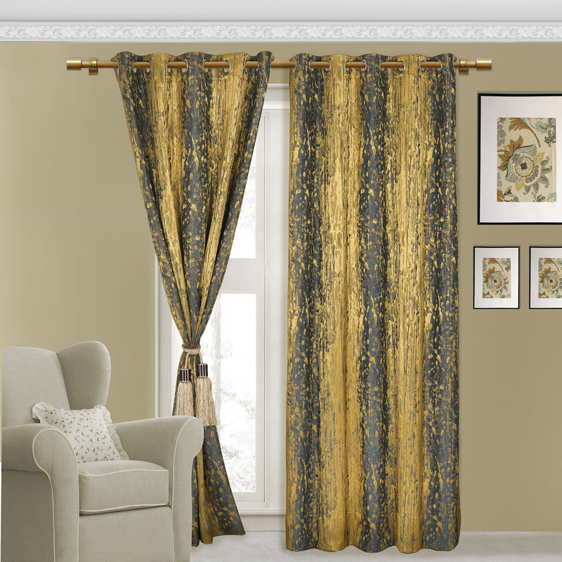 Urban Hues Eyelet 1 Piece Polyester Jacquard Fabric Window, Door Curtain (Blue & Gold)