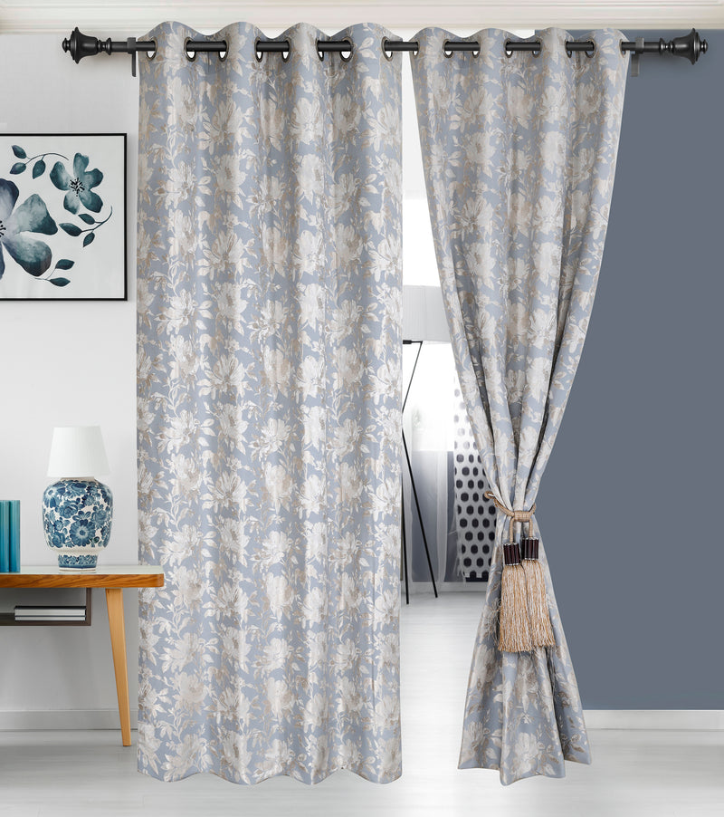 Urban Hues 1 Piece  Window, Door Curtains -(Sky Blue-Floral)