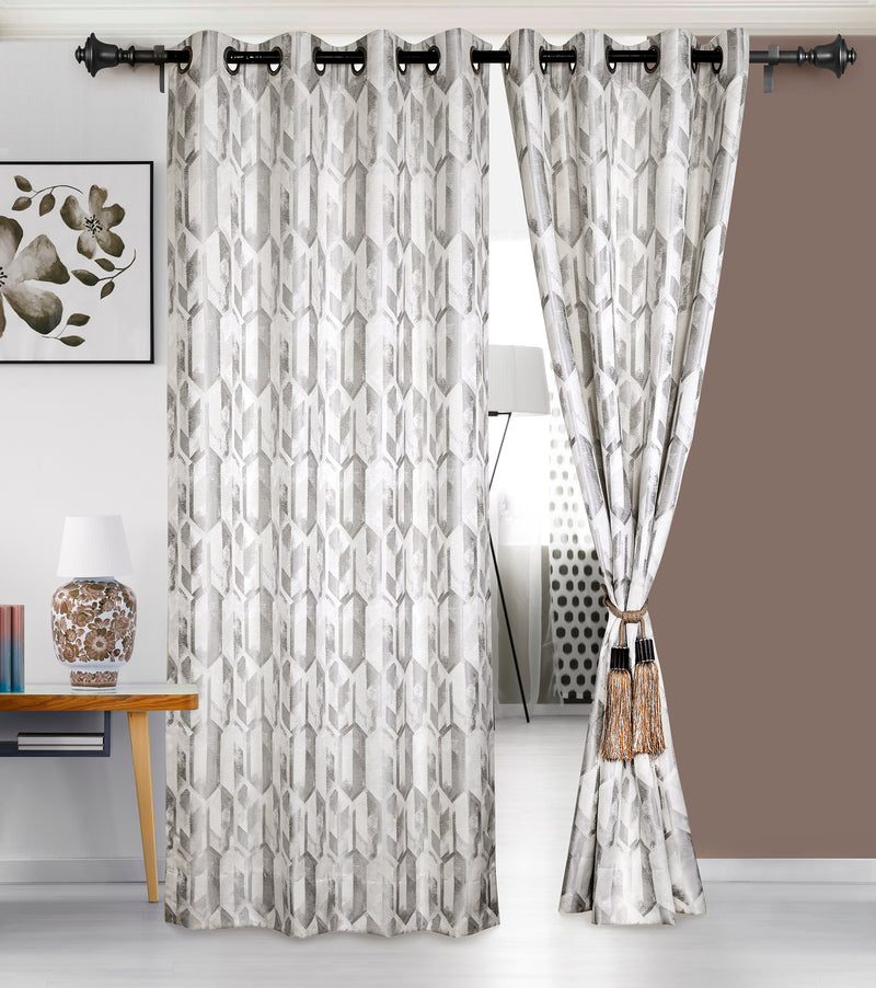 Urban Hues 1 Piece  Window, Door Curtains -(Off White-Trellis)
