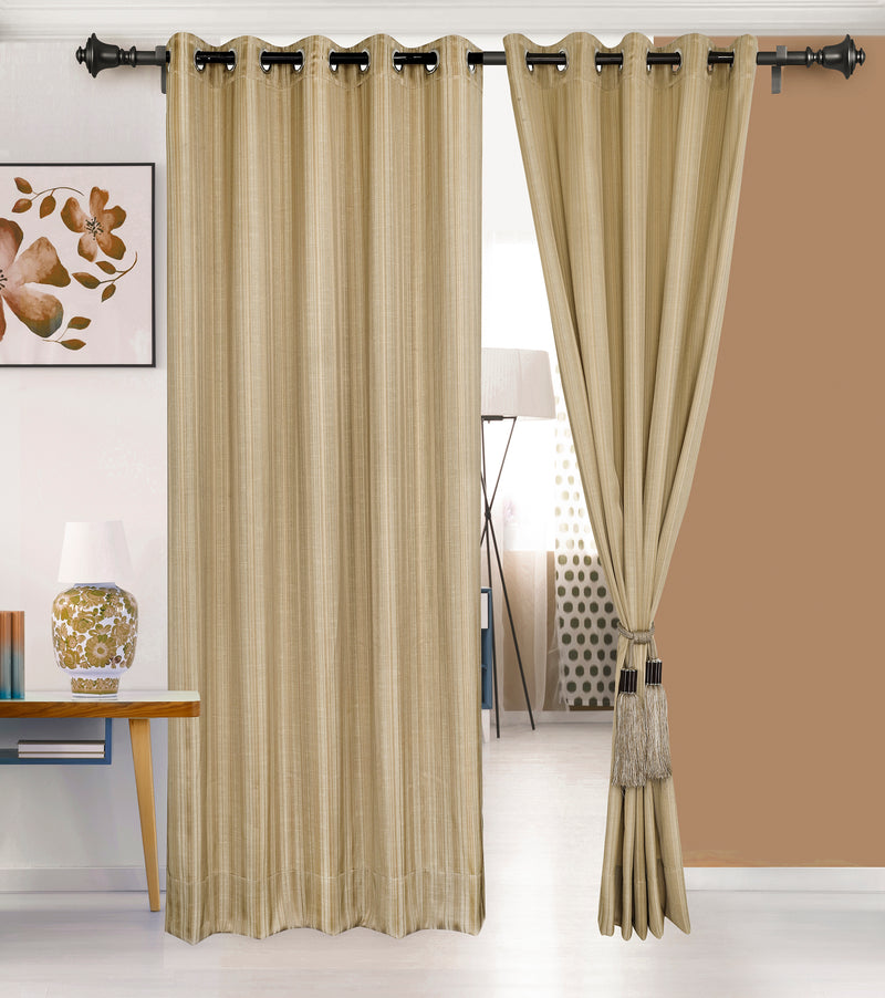 Urban Hues 1 Piece  Window,Door Curtain (Golden-Strips)