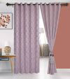 Urban Hues 1 Piece  Window, Door Curtains -(Rose Gold-Damask)