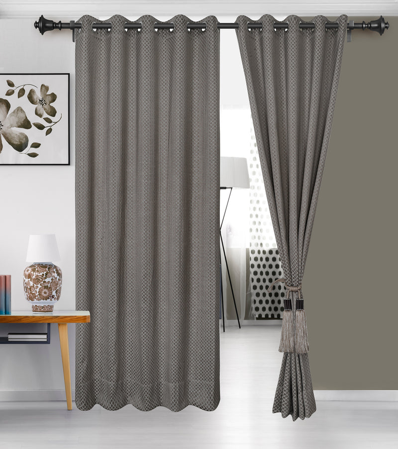 Urban Hues 1 Piece  Window, Door Curtains -(Brown-Cross Check)