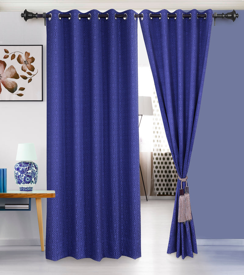 Urban Hues Eyelet Polyester Jacquard Fabric Window, Door Curtain-Bue