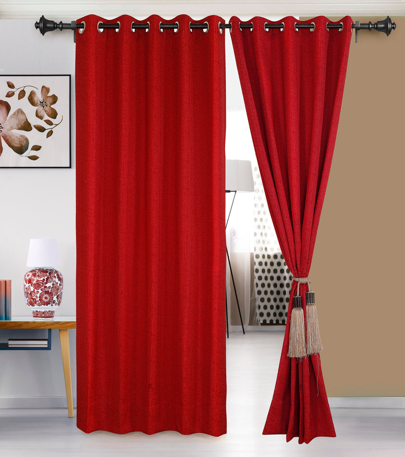 Urban Hues Eyelet Polyester Jacquard Fabric Window, Door Curtain-Red