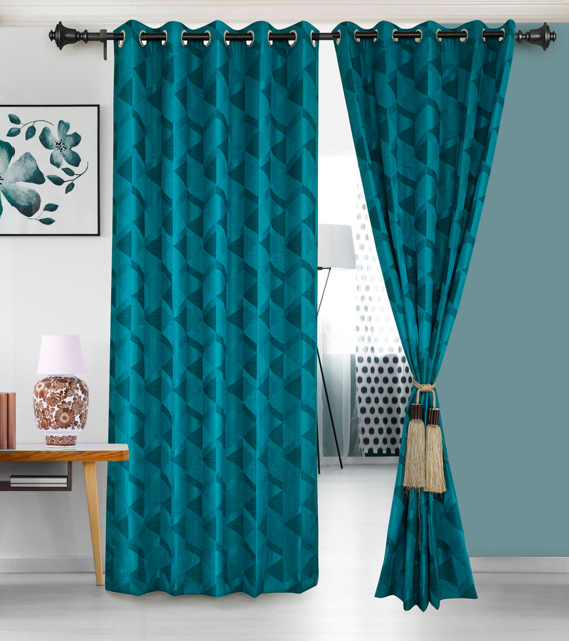 Urban Hues Eyelet Polyester Jacquard Fabric Window, Door Curtain-Turquoise-Canvas