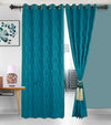 Urban Hues Eyelet Polyester Jacquard Fabric Window, Door Curtain-Turquoise-Trellis