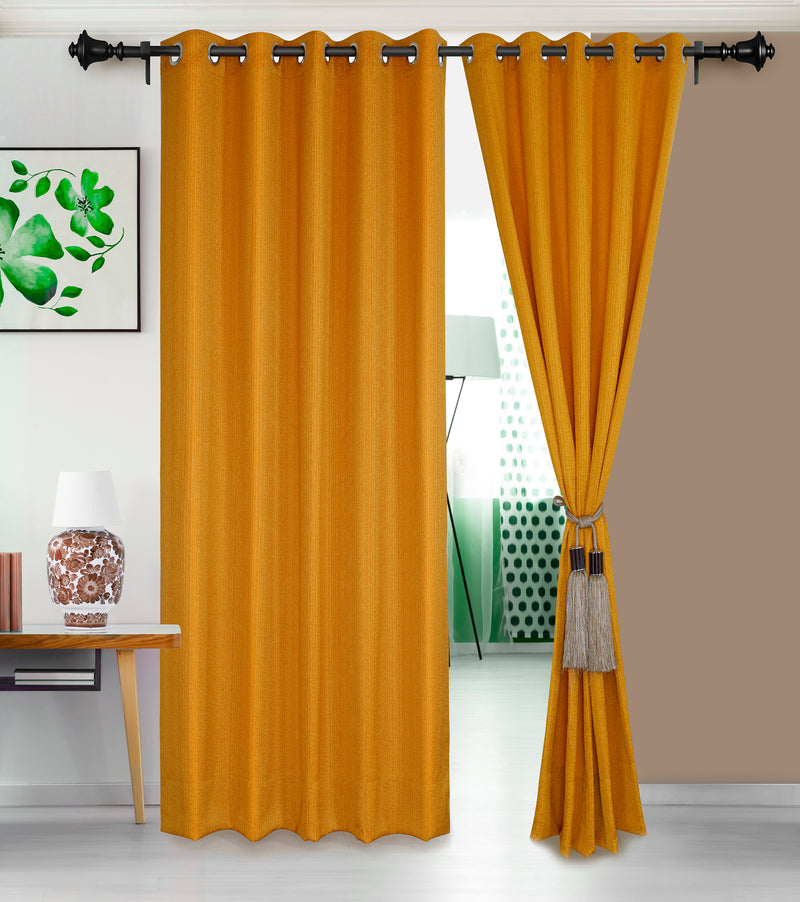 Urban Hues Eyelet Polyester Jacquard Fabric Window, Door Curtain-Yellow
