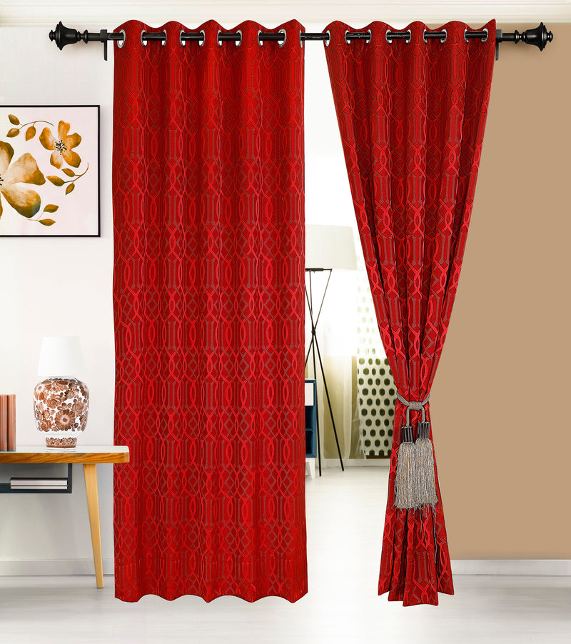 Urban Hues Eyelet Polyester Jacquard Fabric Window, Door Curtain-Red-Trellis