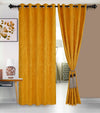 Urban Hues Eyelet Polyester Jacquard Fabric Window, Door Curtain-Yellow-Distressed