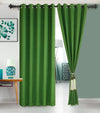 Urban Hues Eyelet Polyester Jacquard Fabric Window, Door Curtain-Green