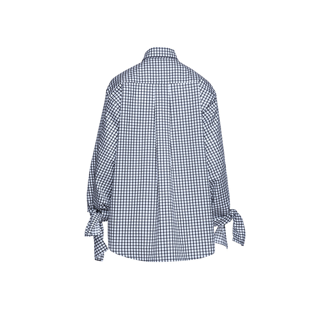 Bow Sleeve Shirt / chess check