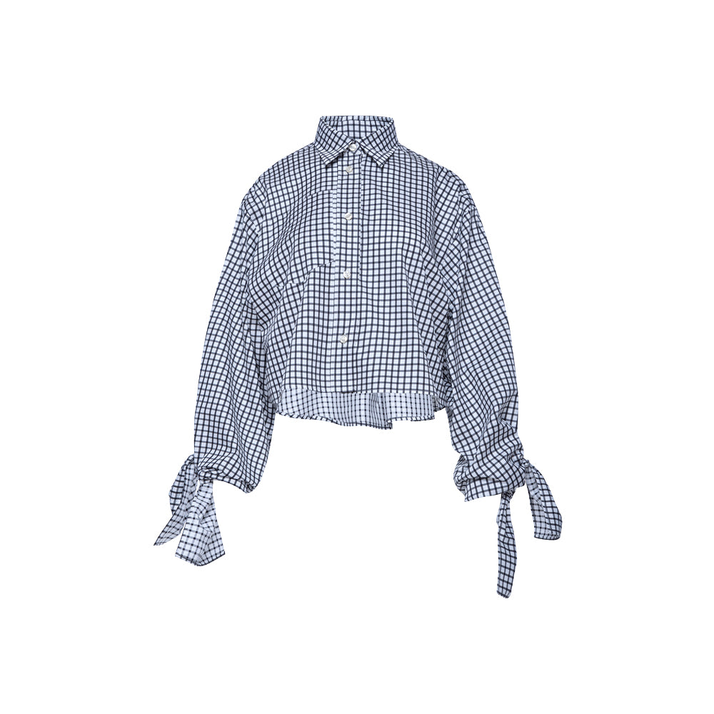 Bow Sleeve Crop Shirt / chess check