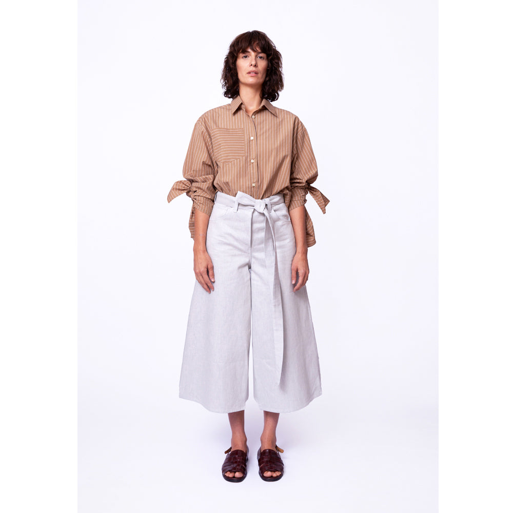 Bow Sleeve Shirt / safari pinstripe