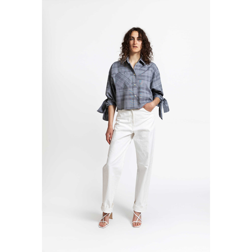 Bow Sleeve Crop Shirt / dishtowel check grey
