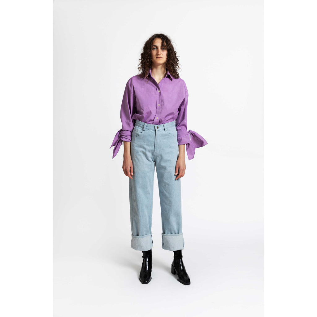 Bow Sleeve Shirt / purple rain