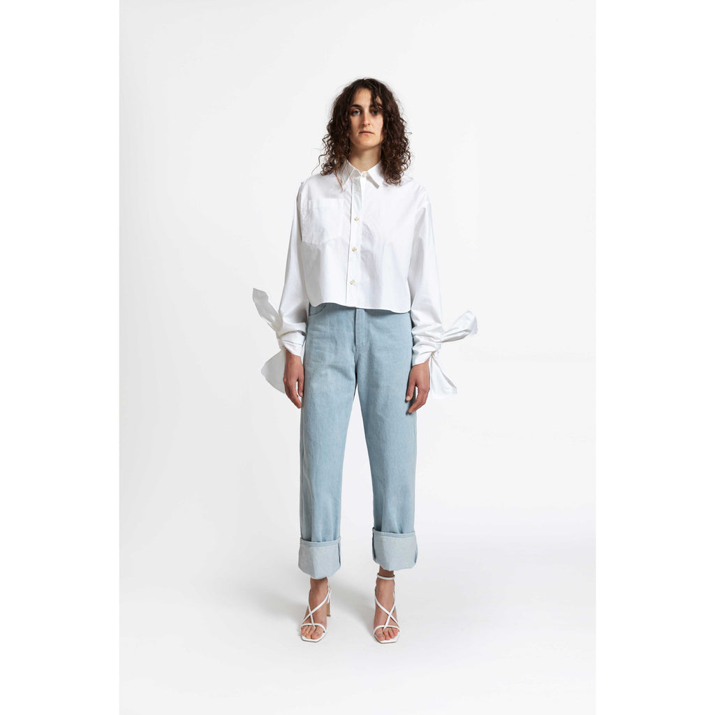 Bow Sleeve Crop Shirt / crispy white