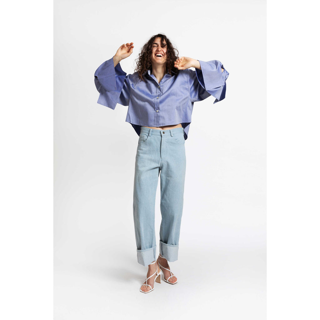 Bow Sleeve Crop Shirt / teardrop blue