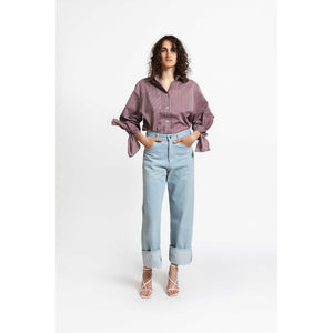 Bow Sleeve Shirt / berry ice stripes
