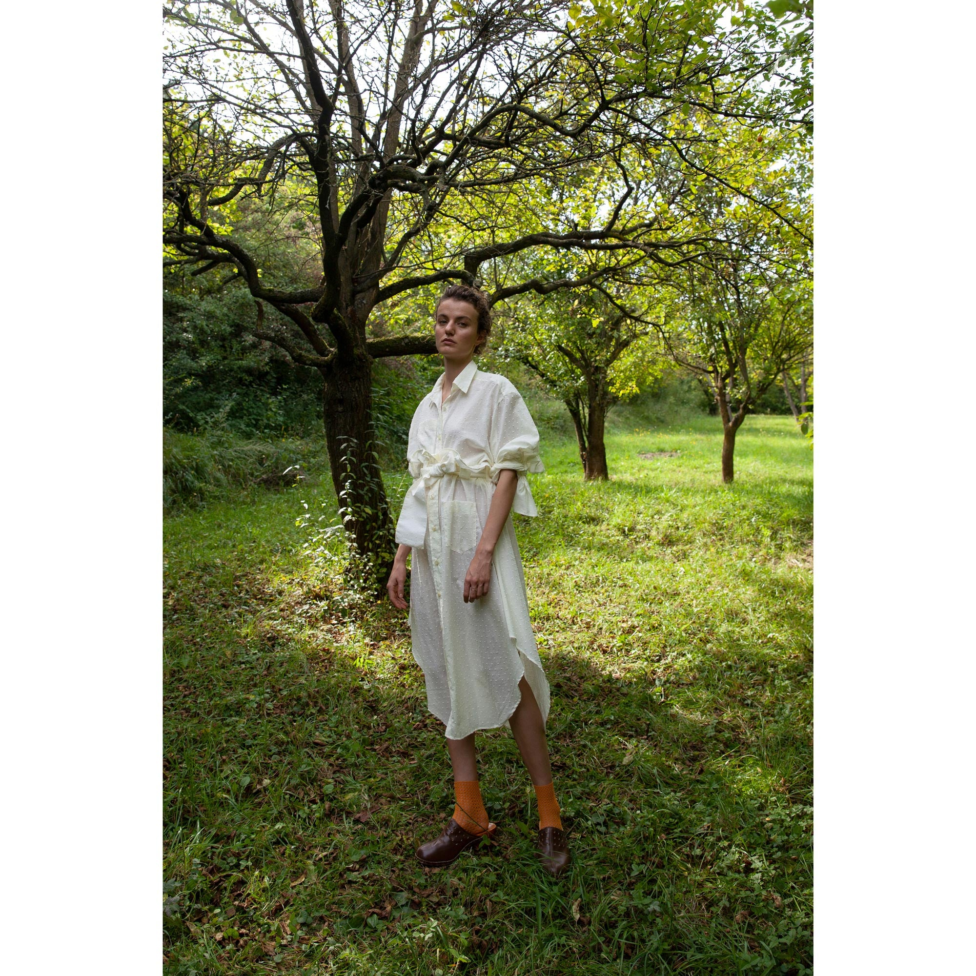 Bow Sleeve Shirt / plumetis cloud