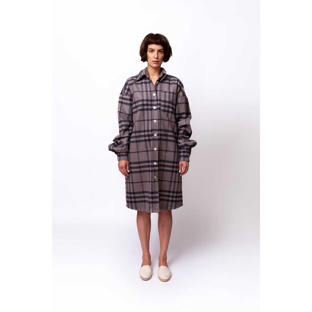 Big Wool Overshirt / grey berry check