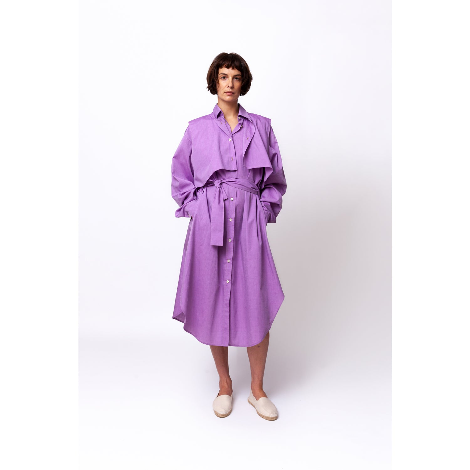 Gilet Shirt Dress / purple rain