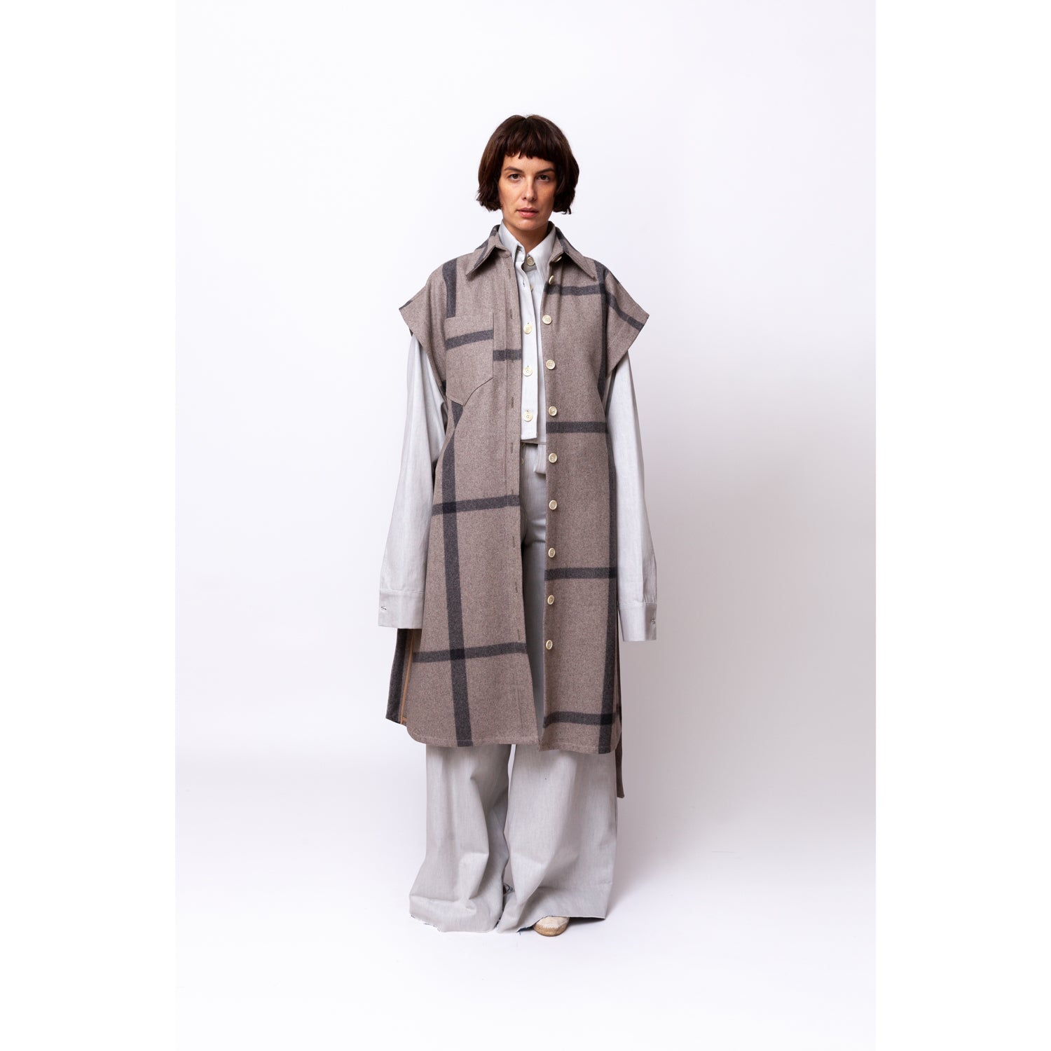 Shirt Poncho / big square grey