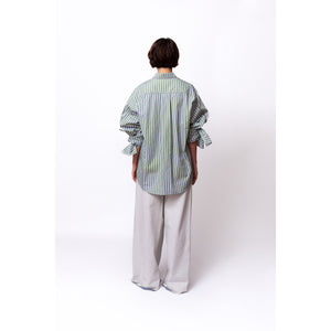 Bow Sleeve Shirt / meadow stripes