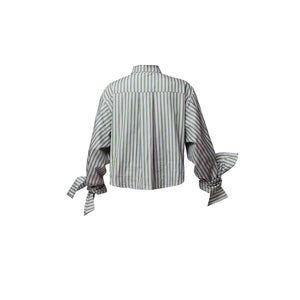 Bow Sleeve Crop Shirt / meadow stripes