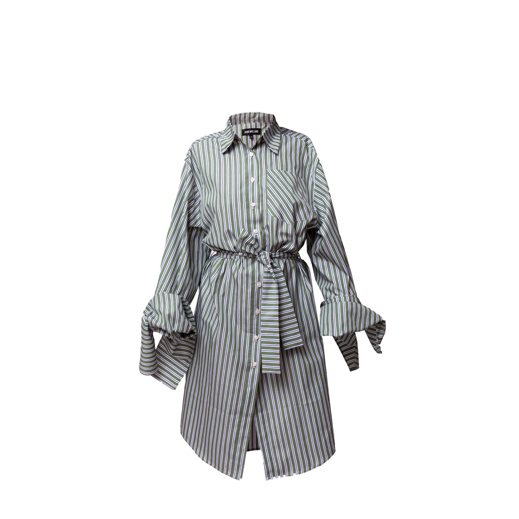 Bow Sleeve Shirt Dress / meadow stripes