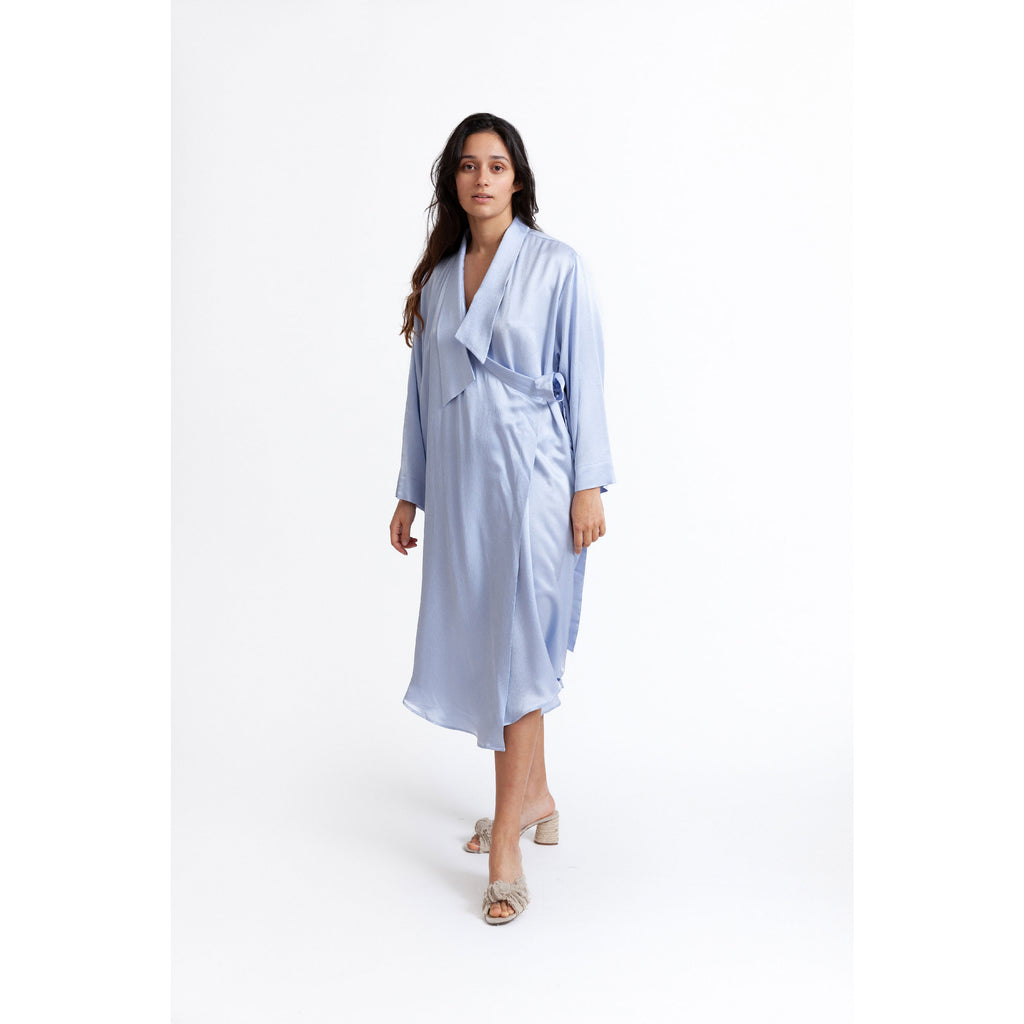 Floaty Wrap Dress / icy lake blue