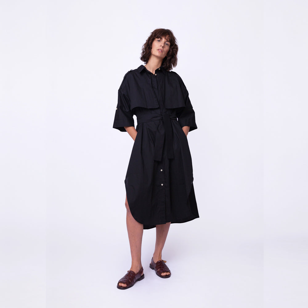 Trench Safari Shirt Dress / organic sky