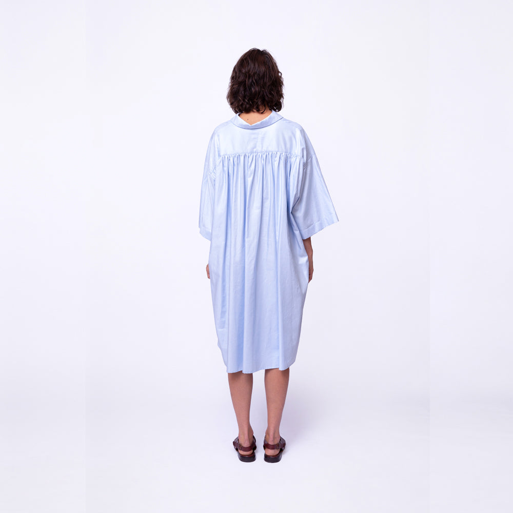 Ruched Back Dress / organic sky