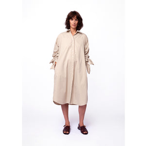 Bow Sleeve Shirt Dress / sandstone