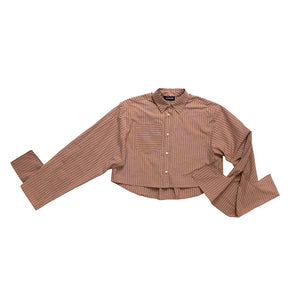 Bow Sleeve Crop Shirt / safari pinstripe