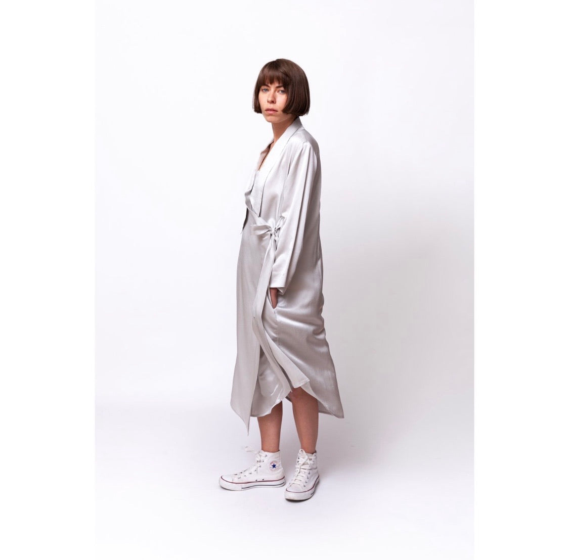 Floaty Wrap Dress / icy nights silver
