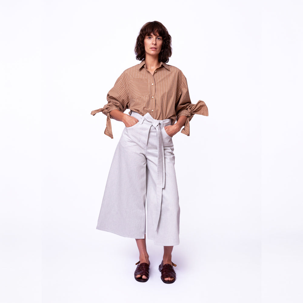 Bow Sleeve Crop Shirt / safari