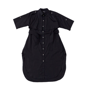 Trench Safari Shirt Dress / black