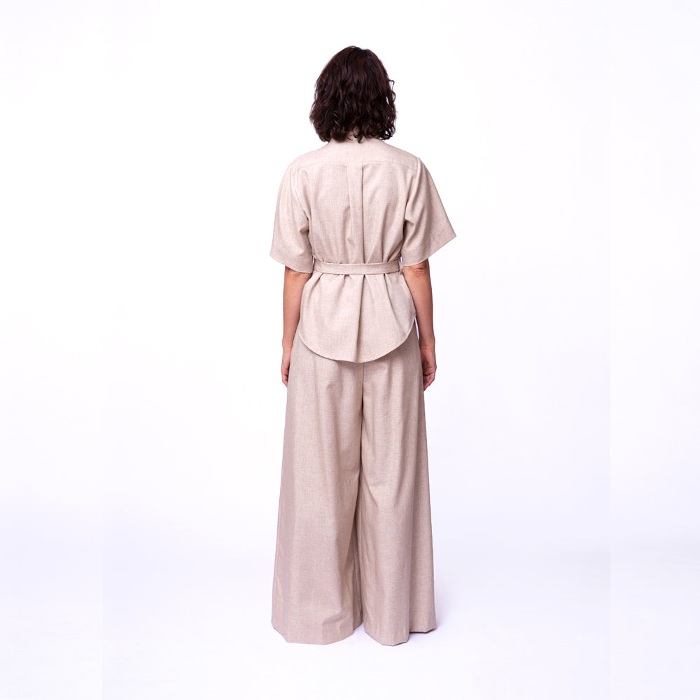 Wide Pleat Pants / sandcastle