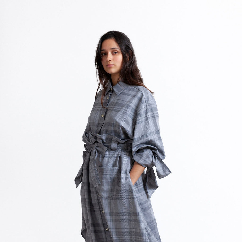 Bow Sleeve Shirt / dishtowel check grey
