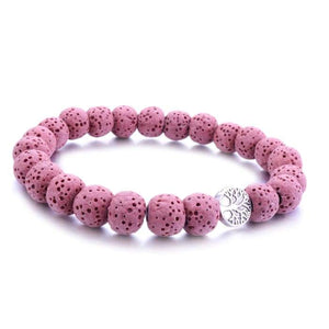 Pink Tree Of Life Lava Stone Essential Oil Bracelet