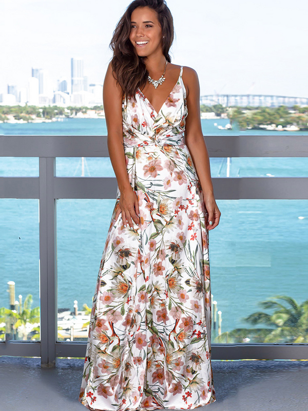 Summer Fashion Camisole Neckline Long Beach Dress