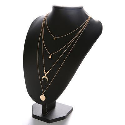 Golden Multi Layered Moon & Wafer Choker / Necklace Set (Jewelry for Women)