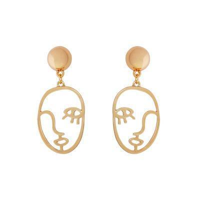 Abstract Human Face Dangle Earrings for women