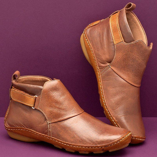 H Brown / US 4.5 (label size 35) Casual Comfy Daily Adjustable Soft Leather Booties
