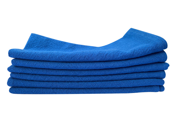 Lot de 6 serviettes bleu denim en lin et coton