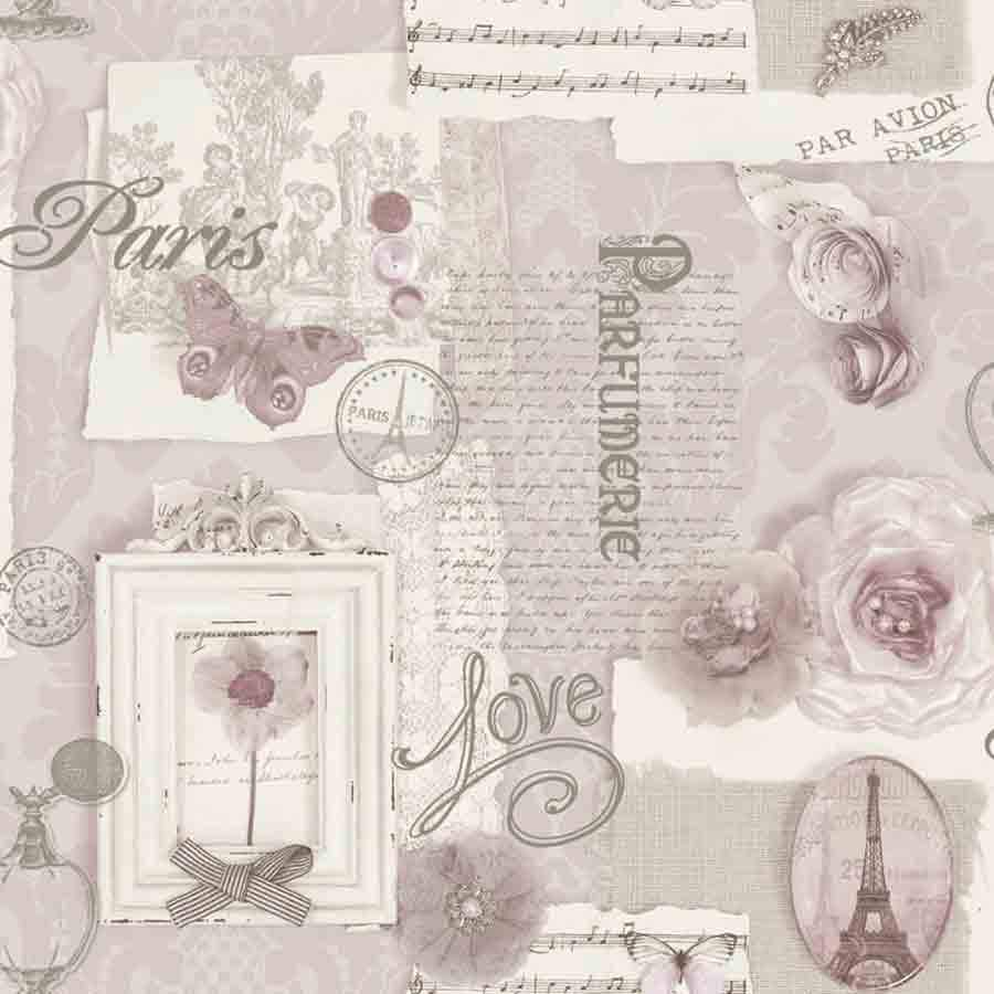 Arthouse Felicity Pink Floral Paris Motif Wallpaper  - 665403