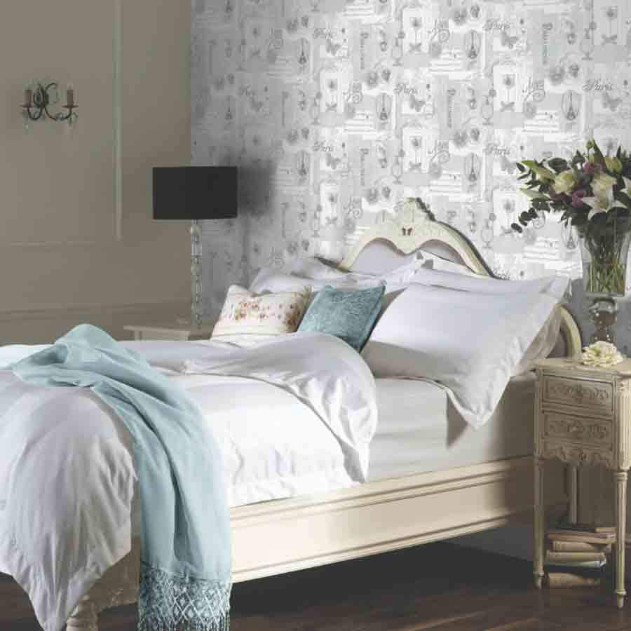 Arthouse Felicity Silver Floral Paris Motif Wallpaper  - 665401