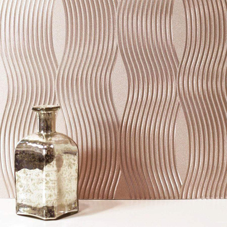 Arthouse Foil Wave Rose Gold Wallpaper - 294500