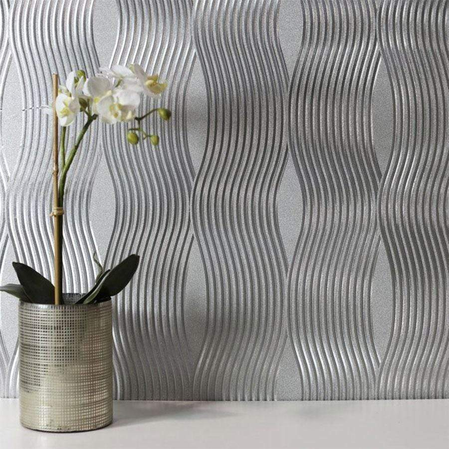Arthouse Foil Wave Silver Wallpaper 294501 Taskers